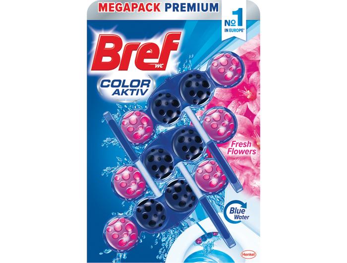 Bref Color aktiv sredstvo za čišćenje i osvježavanje wc školjke Fresh flowers  3x50 g