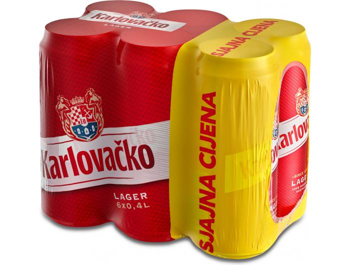 Karlovačko pivo 0,4 L limenka 6-pack 1 pak. 6 kom.