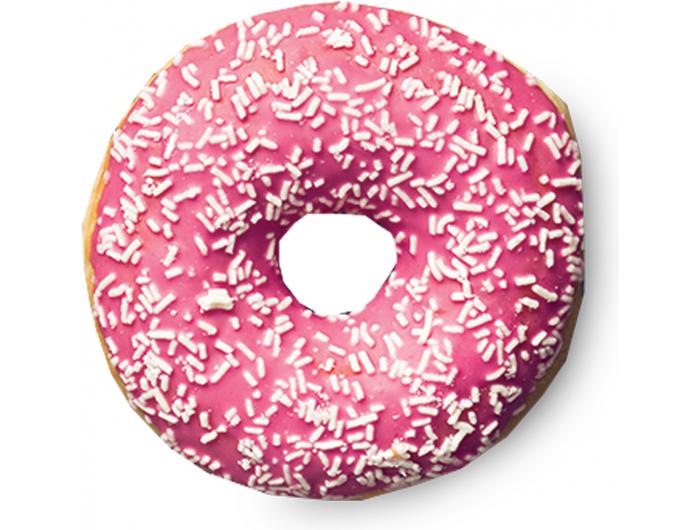 Donut od jagode s bijelim posipom 56 g Bobis