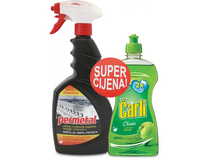 Sredstvo za čišćenje i deteržent za pranje posuđa Permetal 650 ml + Čarli 500 ml