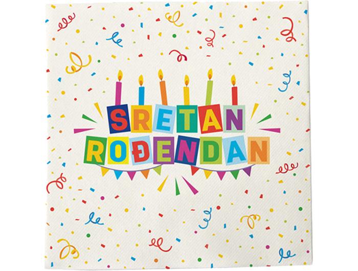 Salvete Happy birthday 20 kom