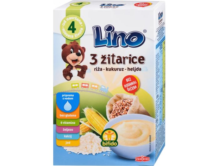 Žitne pahuljice – 3 vrste žitarica, 4 + mj., 210 g, Lino