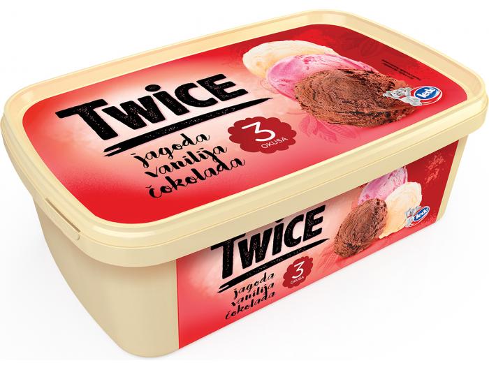 Ledo Twice sladoled jagoda vanilija čokolada 1,7 L