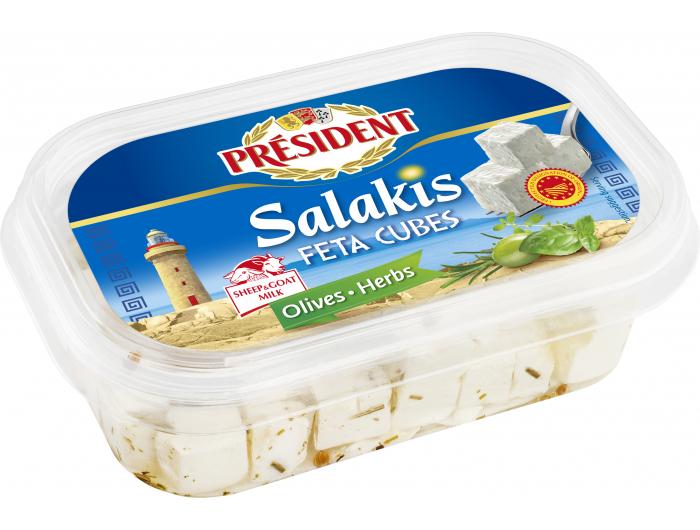 President Salakis Feta sir cubes olives herbs 150 g