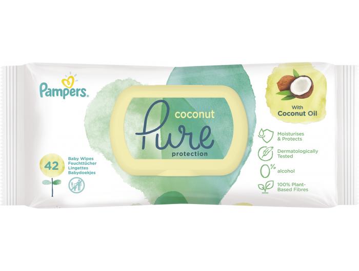 Pampers Pure Dječje vlažne maramice kokosovo ulje 42 kom