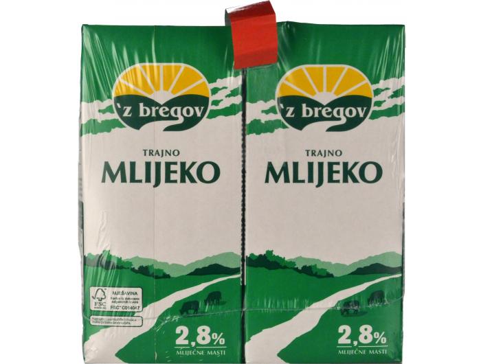 Vindija 'z bregov trajno mlijeko 2,8% m.m. 1 pak 4x1 L