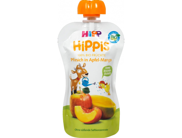 HiPP HiPPis Bio Voćni pire jabuka i mango s breskvom 100 ml