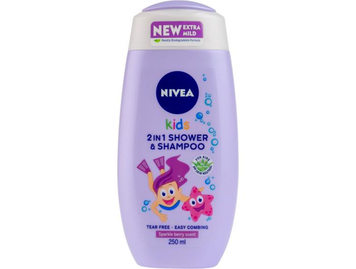 Nivea Kids 2u1 Šampon i gel za tuširanje za djevojčice 250 ml