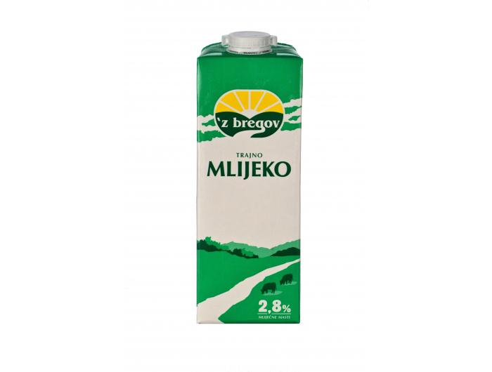 Vindija 'z bregov  trajno mlijeko 2,8% m.m. s čepom 1 L