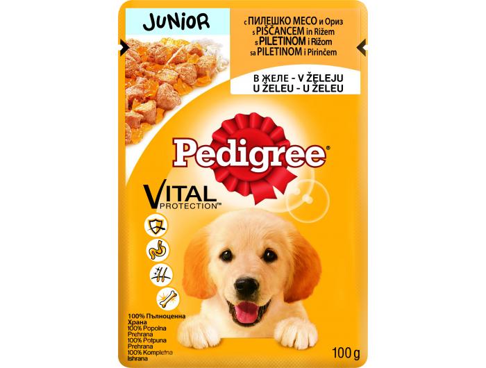 Pedigree Hrana za pse junior piletina i riža 100 g