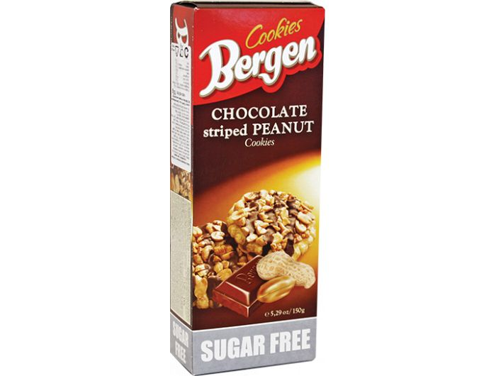 Keks, 150 g, bez šećera, čokolada i kikiriki, Bergen