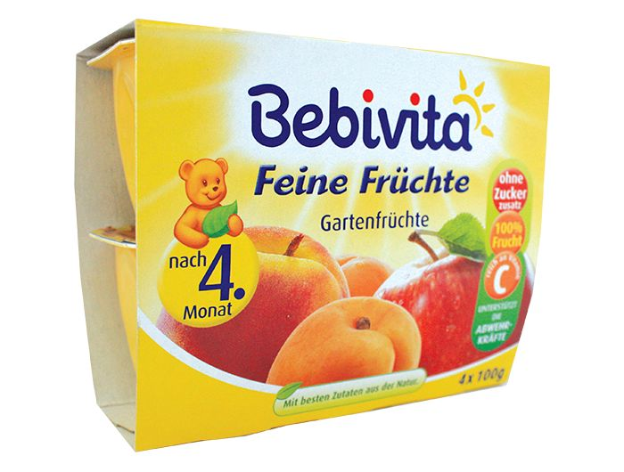 Dječja hrana, 1 pak, 4x100 g, jabuka i breskva, Bebivita