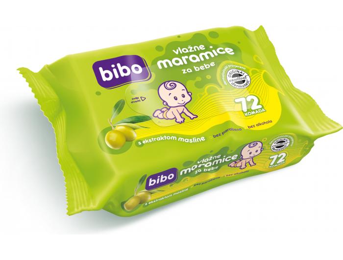 Bibo Dječje vlažne maramice s ekstraktom masline 72 kom