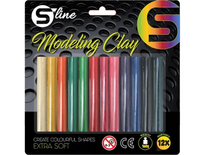 S-line plastelin 12 boja,okrugli,160gr.,blister  P12/72