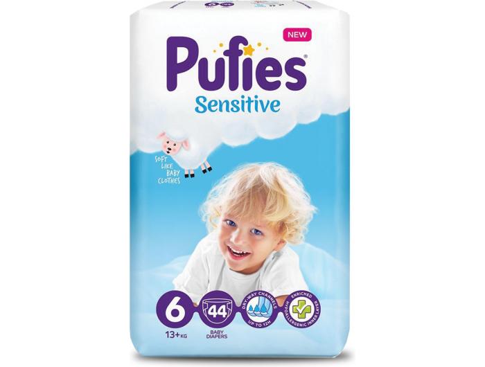 Pufies Sensitive Dječje pelene vel. 6 (13+ kg) 44 kom