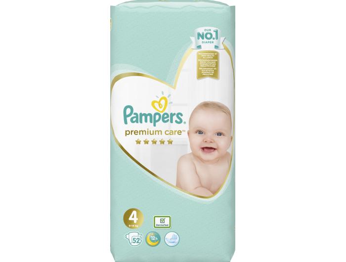 Pampers Premium care Dječje pelene vel. 4 (9-14 kg) 52 kom