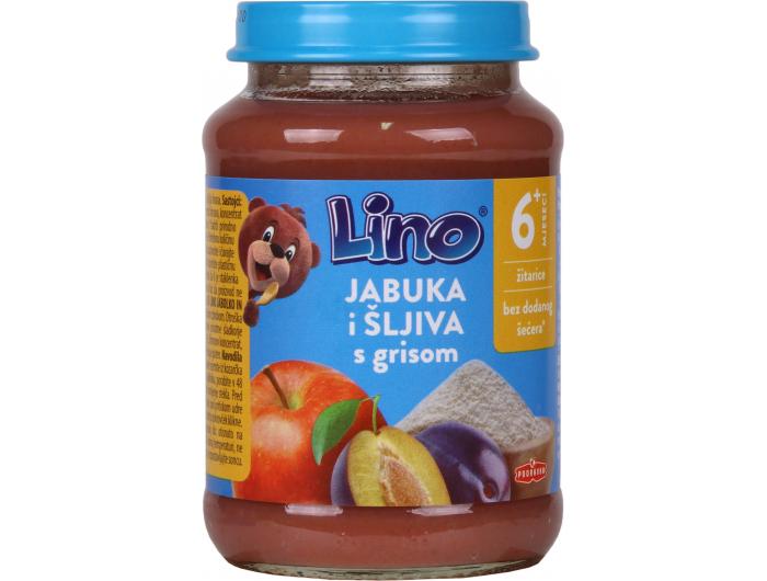 Podravka Lino Dječja kašica jabuka i šljiva s grizom 190 g