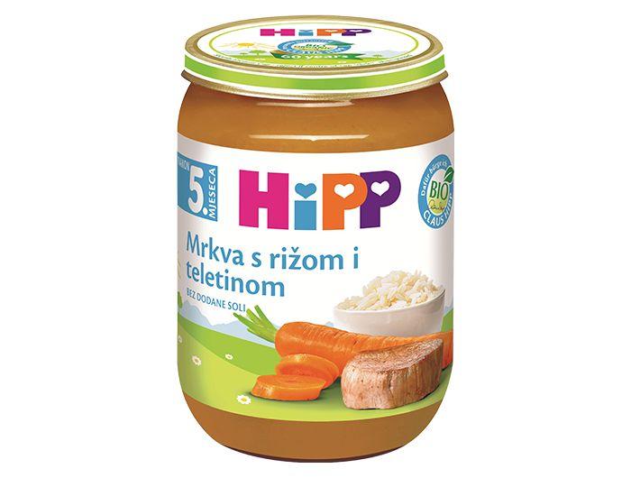 Dječja hrana, 190 g, teletina/riža/mrkva, Hipp