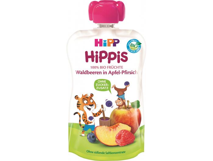 Hipp HiPPis Voćni pire jabuka i breskva sa šumskim voćem 100 ml