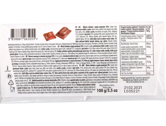 Zvečevo Samo ti čokolada od jagode 100 g