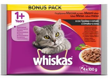 Whiskas hrana za mačke meso s povrćem 1 pak 4 x 100 g