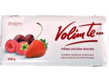 Zvečevo čokolada Volim te višnja, jagoda, malina 100 g