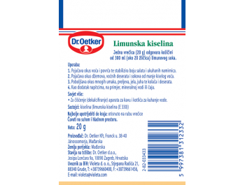 Dr. oetker Limunska kiselina 20 g