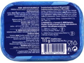 Podravka Eva skuša fileti u biljnom ulju 115 g ocijeđena masa 81 g